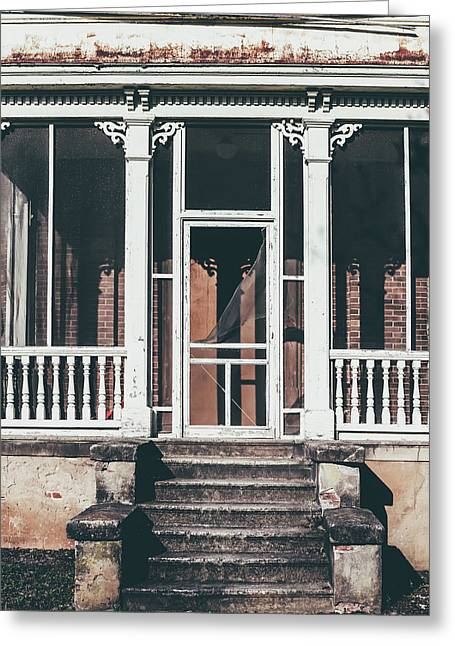 Greeting Card featuring the photograph Front Door Of Abandoned Building by Kim Hojnacki