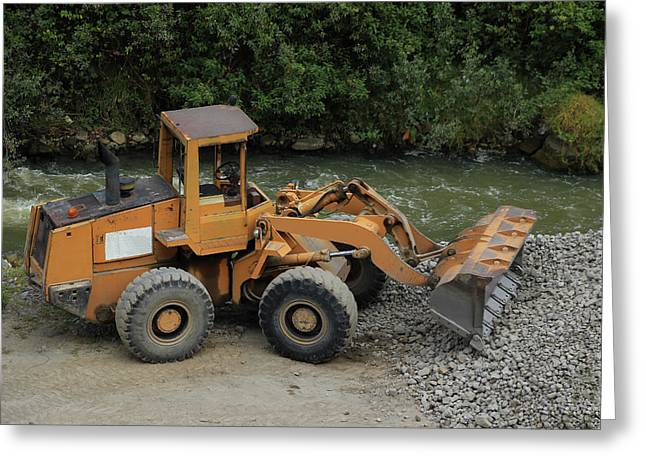 Front End Loader And Rock Pile Greeting Card by Robert Hamm