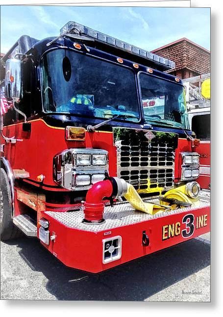 Front Of Fire Truck With Hose Greeting Card by Susan Savad