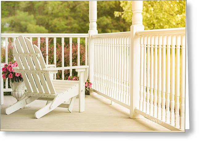 Front Porch In Summer Greeting Card by Diane Diederich