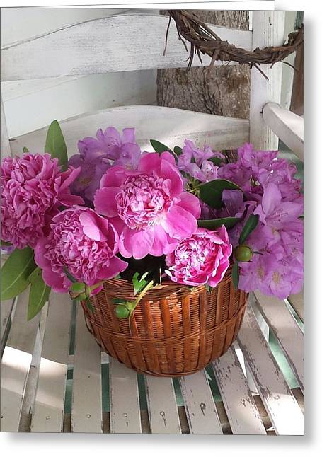 Front Porch Peonies Greeting Card