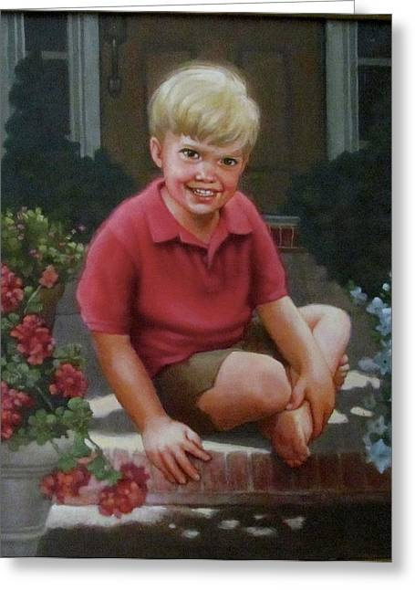 Front Porch Portrait Greeting Card by Janet McGrath