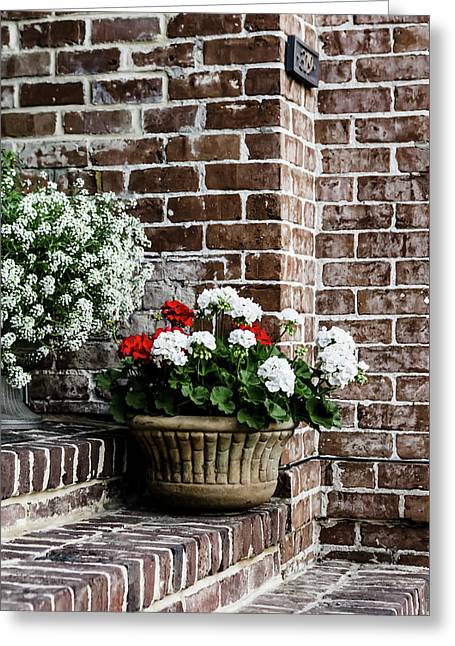 Greeting Card featuring the photograph Front Porch With Flower Pots by Kim Hojnacki
