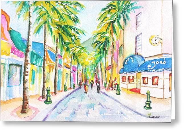 Front Street Philipsburg St. Maarten  Greeting Card