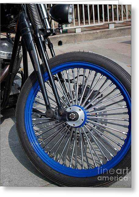 Front Wheel With Blue Rims And Fat Chrome Spokes Of Vintage Styl Greeting Card by Jason Rosette