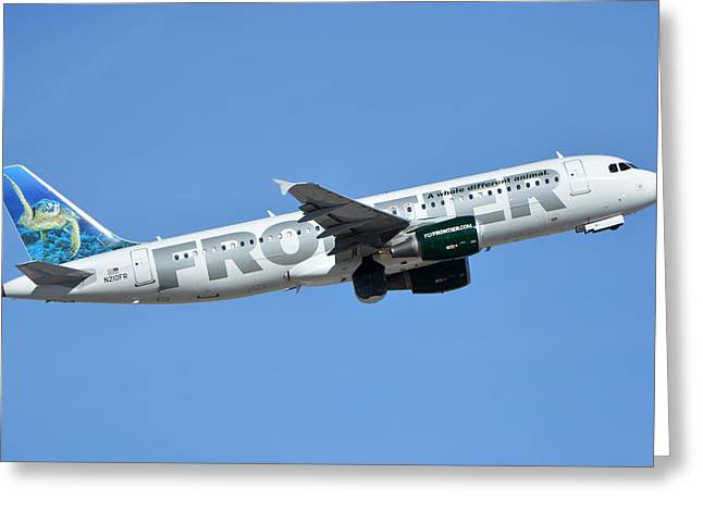 Frontier Airbus A319-214 N210fr Sheldon The Sea Turtle Phoenix Sky Harbor January 21 2016 Greeting Card by Brian Lockett