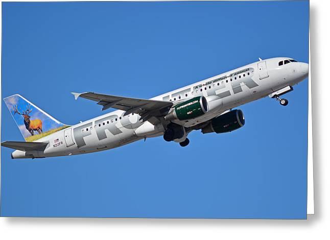 Frontier Airbus A320-214 N213fr Montana The Elk Phoenix Sky Harbor January 12 2015 Greeting Card by Brian Lockett