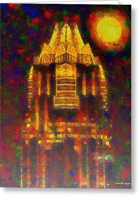 Frost Bank Austin Colorful - Da Greeting Card by Leonardo Digenio