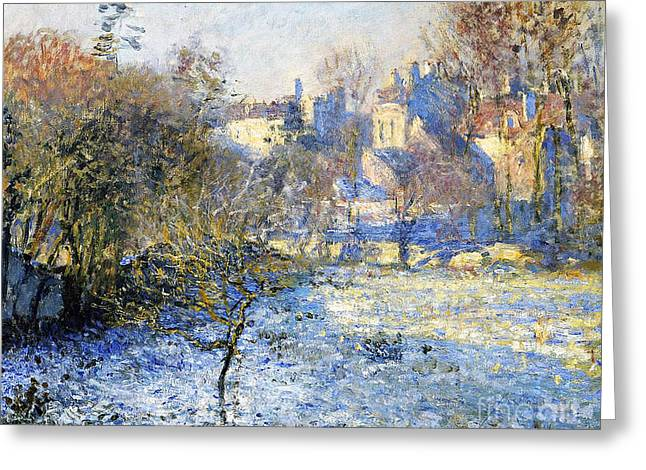 Snowy Field Greeting Cards - Frost Greeting Card by Claude Monet