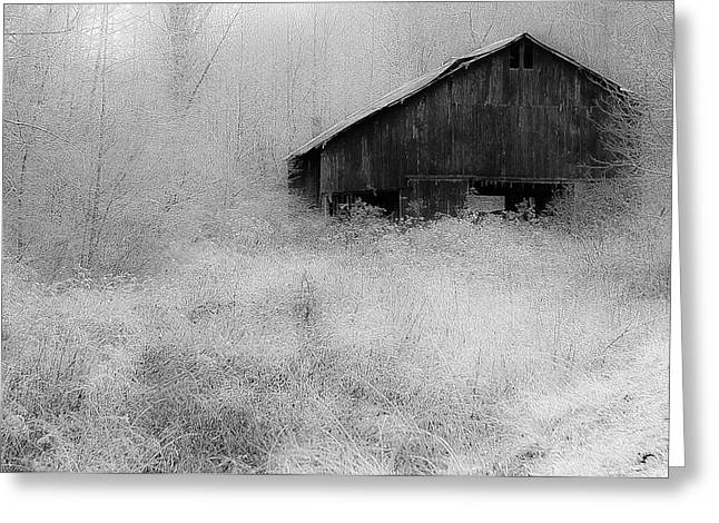 Greeting Card featuring the photograph Frosted Barn by Rick Hartigan