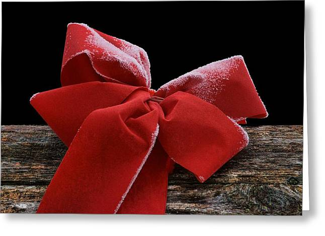 Greeting Card featuring the photograph Frosted Bow by Nikolyn McDonald