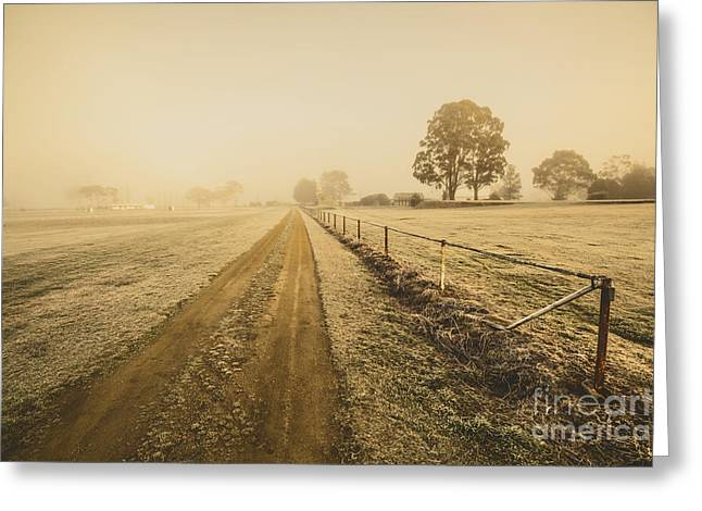 Frosted Road In Outback Australia Greeting Card
