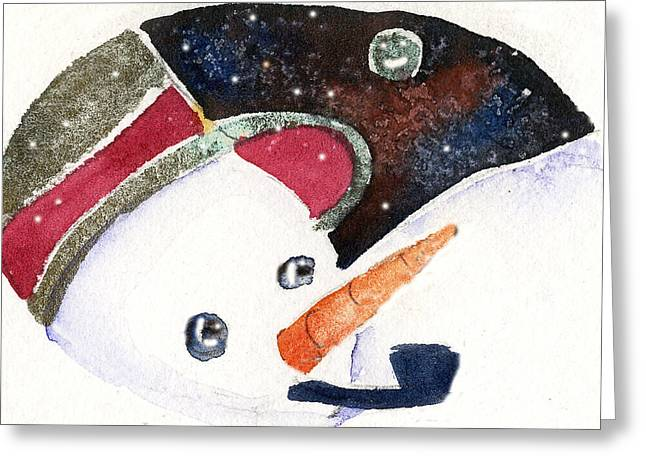 Snow Drifts Drawings Greeting Cards - Frosty and the Moon Greeting Card by Mindy Newman