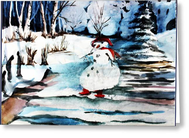 Frosty And The Mystic Snow Angels Greeting Card