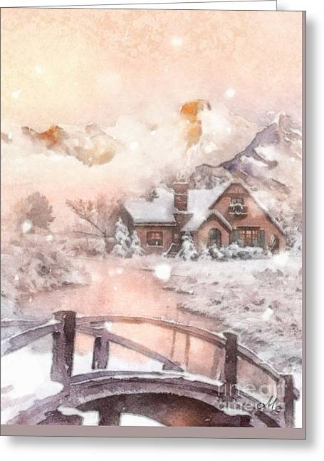 Greeting Card featuring the painting Frosty Creek by Mo T