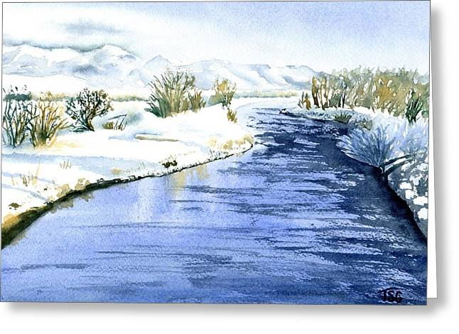 Frosty Day On The East Gallatin Greeting Card by Tammy Crawford