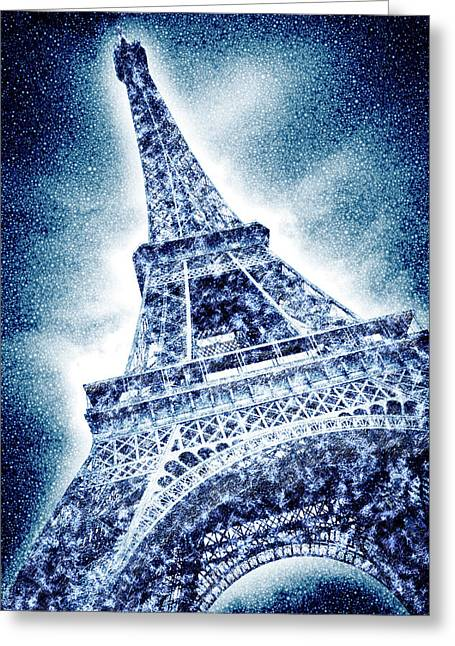 Frosty Eiffeltower In Snow Flurry - Graphic Art Greeting Card by Melanie Viola