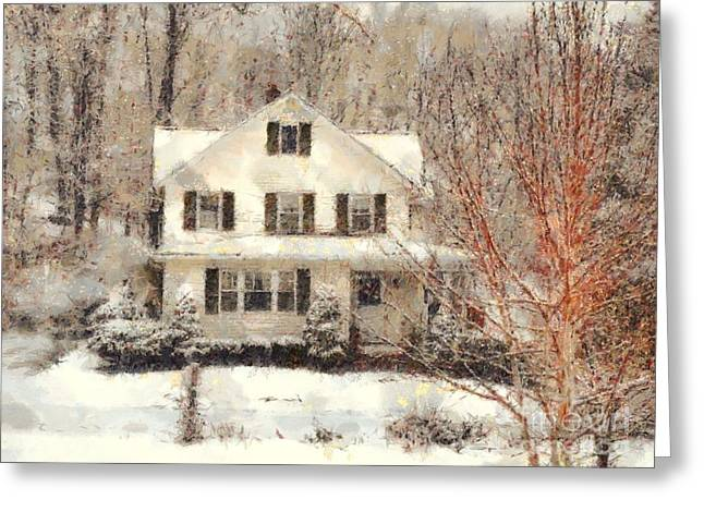 Frosty Farmhouse Morning Greeting Card