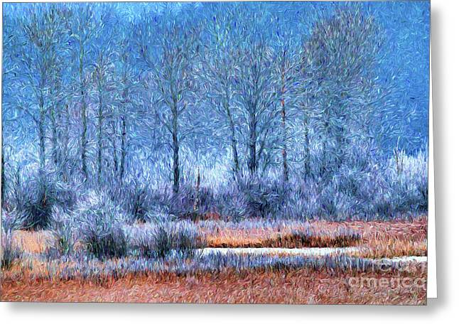 Frosty Morning At The Marsh Photo Art Greeting Card
