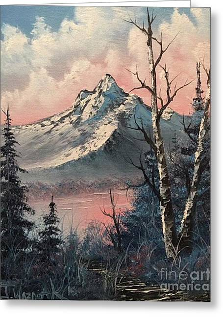 Frosty Mountain  Greeting Card by Paintings by Justin Wozniak
