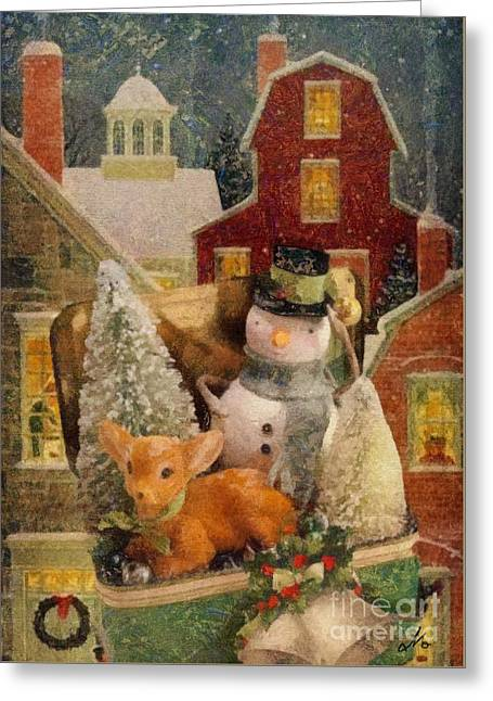 Frosty The Snowman Greeting Card by Mo T