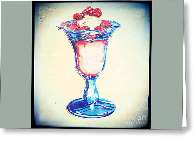 Frosty Vintage Strawberry Parfait Greeting Card