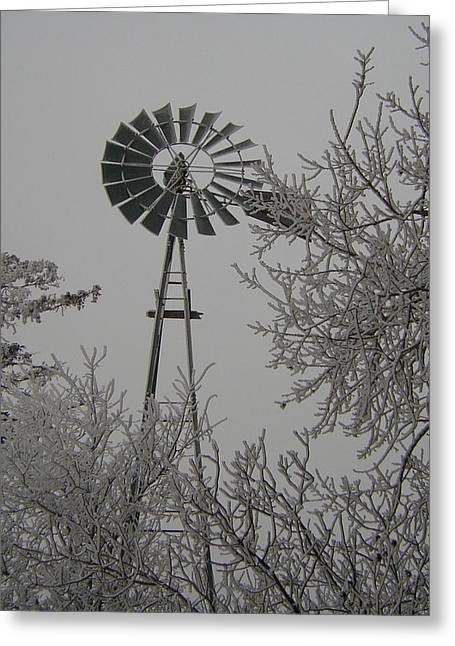 Frosty Windmill Greeting Card by Deena Keller