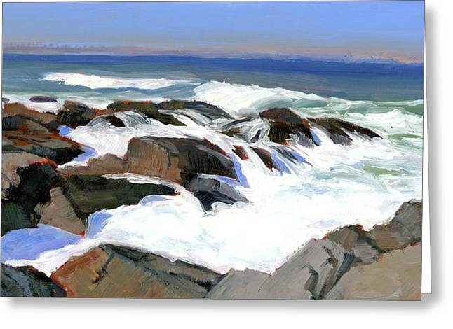 Froth And Foam On The Marginal Way Greeting Card by Mary Byrom