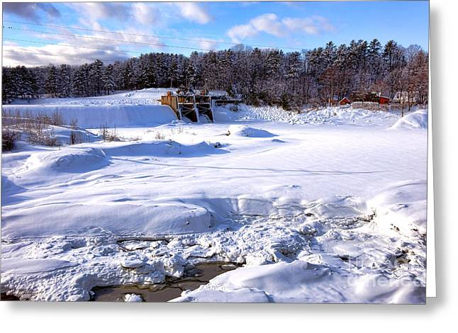 Frozen Androscoggin River Greeting Card by Olivier Le Queinec
