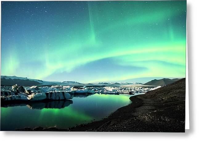 Greeting Card featuring the photograph Frozen Auroras by Brad Scott