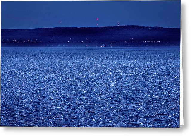 Frozen Bay At Night Greeting Card by Onyonet  Photo Studios