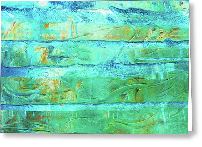 Frozen - Blue Green And White Colorful Abstract Art Greeting Card