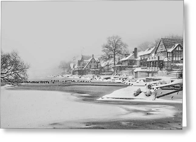 Frozen Boathouse Row In Philadelphia In Black And White Greeting Card by Bill Cannon