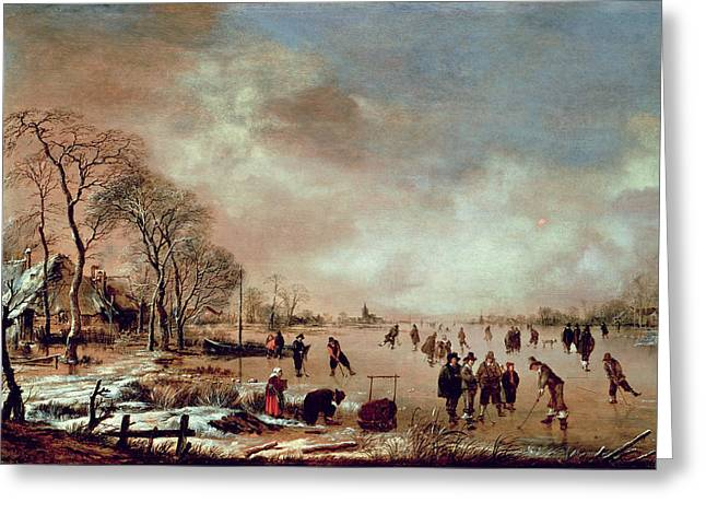 Freeze Greeting Cards - Frozen Canal Scene  Greeting Card by Aert van der Neer