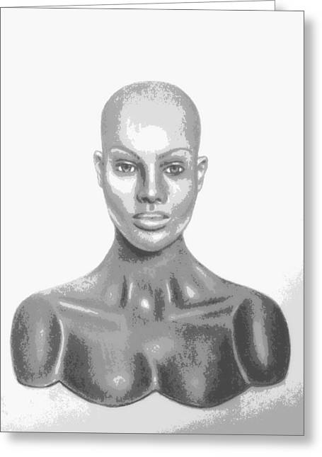 Bald Superficial Woman Mannequin Art Drawing  Greeting Card