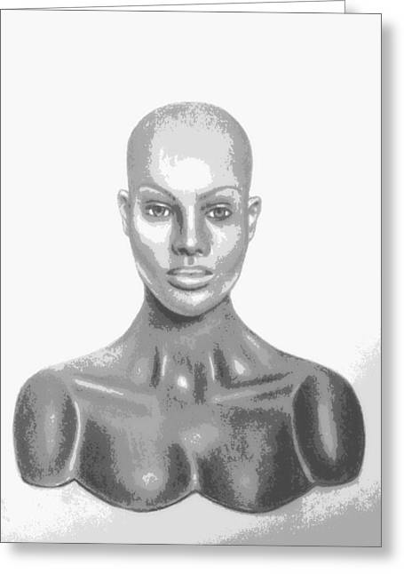 Superficial Bald Woman Art Charcoal Drawing  Greeting Card