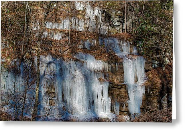 Greeting Card featuring the photograph Frozen Falls by Mark Guinn