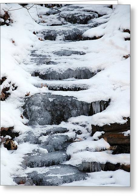 Frozen Falls Greeting Card by Peter  McIntosh