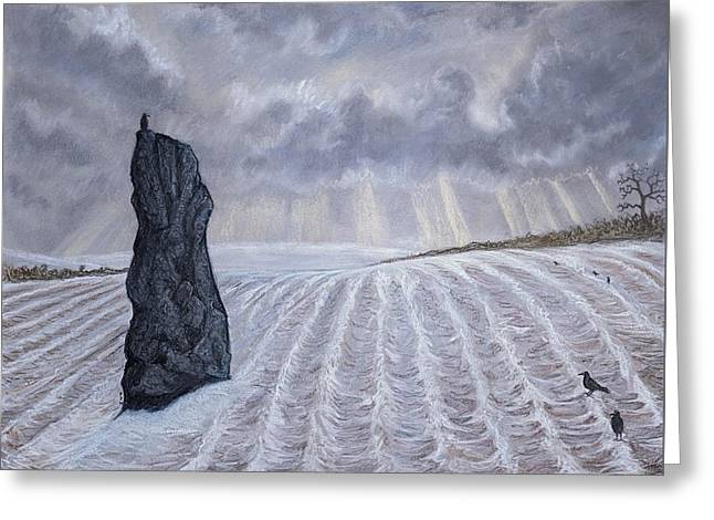 Frozen Field Megalith Greeting Card by Philip Harvey