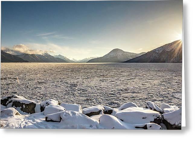 Frozen Fjord Sunrise Greeting Card