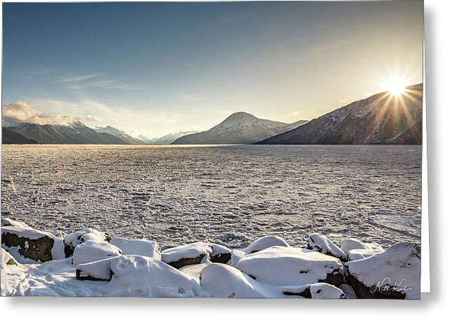 Frozen Fjord Sunrise Greeting Card