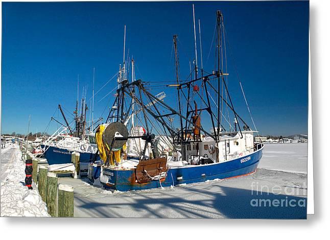 Frozen Hyannis Harbor Greeting Card