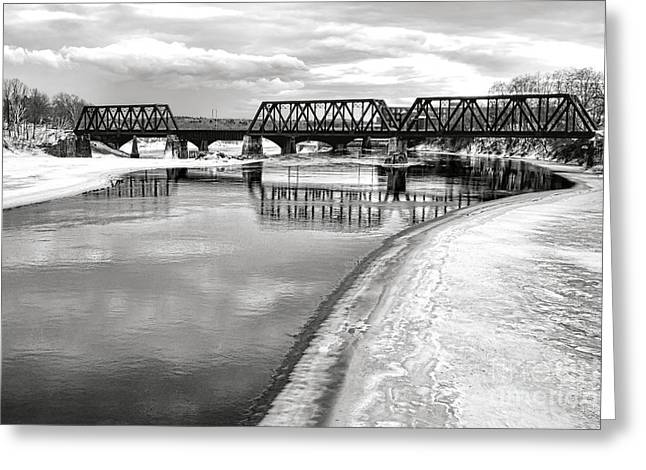 Frozen Kennebec River And Railroad Bridge In Waterville Greeting Card by Olivier Le Queinec