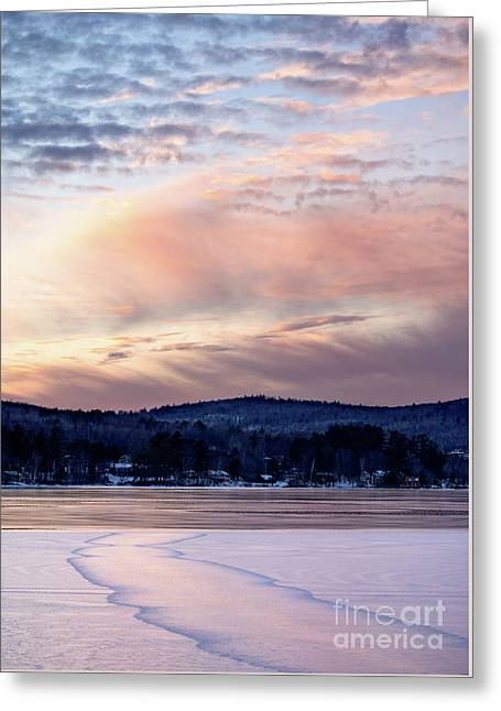 Frozen Lake Sunset In Wilton Maine  -78096-78097 Greeting Card
