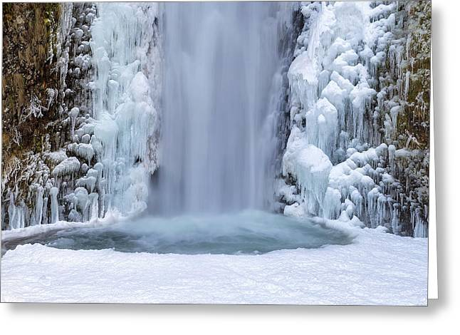 Frozen Multnomah Falls Closeup Greeting Card by David Gn