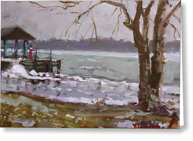 Frozen Niagara River Greeting Card by Ylli Haruni