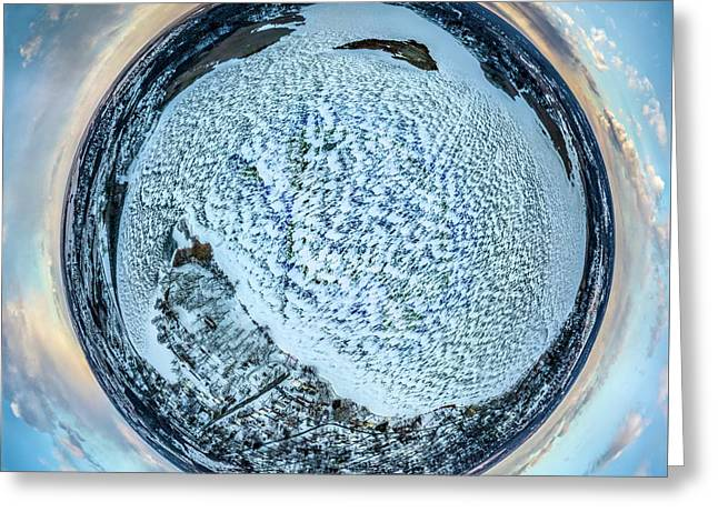 Greeting Card featuring the photograph Frozen Phantom Lake Little Planet by Randy Scherkenbach