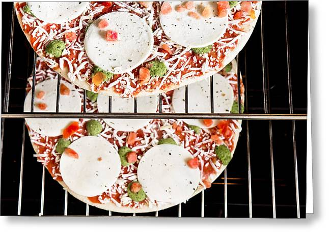 Frozen Pizza Greeting Card by Tom Gowanlock