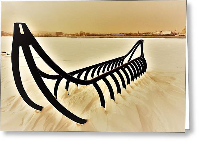 Frozen River And Canoe Greeting Card