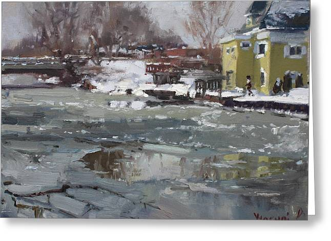 Frozen Cayuga Creek Greeting Card